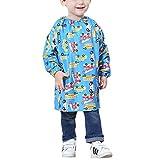 Farbenfrohe Schürze mit langen Ärmeln, wasserdichte Kleidung für Kinder, Größe L