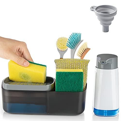 Dish Soap Dispenser for Kitchen Sink with Sponge Holder, 4 In 1 Kitchen Sink Caddy Organizer Countertop Hand Liquid Soap Dispensers with Soap Silicone Tray