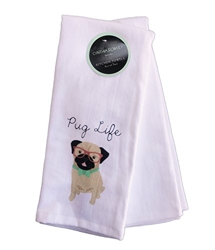 Cynthia Rowley Set of 2 Kitchen Towels Cotton Pug Dog It