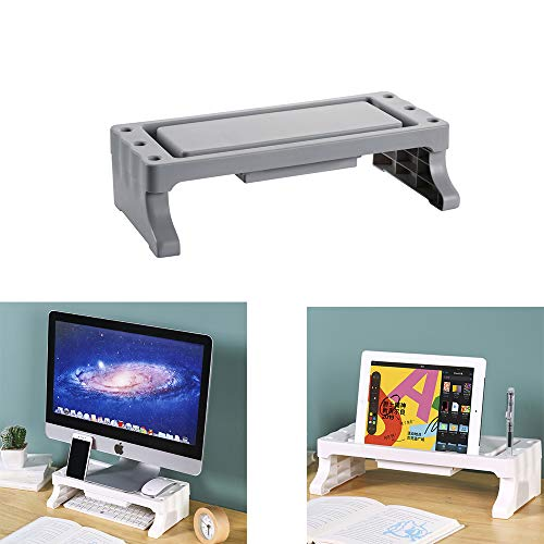 Hosoncovy Desktop Computer Riser Stand Monitor Stand Riser Laptop Stand with Drawer Pen Holder Slots Phone Stand for Desktop Computer Laptop (Gray)