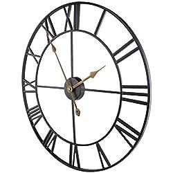 Roman Numerals Wall Clocks, Iron European Retro Vintage Clock Large Silent Battery Operated Metal Skeleton Decor Clock,32inch