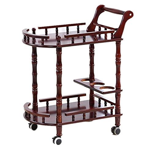 Carrito de hotel Carrito de barra rodante Carrito de servicio de metal con panel de madera maciza Barra de 2 niveles y carrito de servicio Carrito de servicio de té con 4 ruedas
