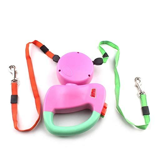 Xasclnis huisdier dubbel hoofd Traction touw, hond automatische telescopische trekker handgreep een knop rem & slot
