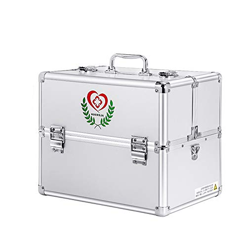 Youngshion 家庭緊急時用医療用折り畳み可能な多層医学箱応急手当品ボックス小物収納上手な救急箱薬箱診察用防災グッズ (シルバー, 18-inch/ 3層)