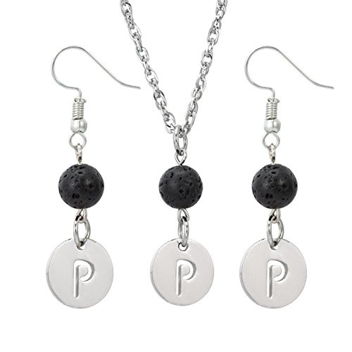 Lava-rock Stone Initial Pendant alphabet Lava Earrings for Essential Oil Diffuser Necklace and Earrings Set,P