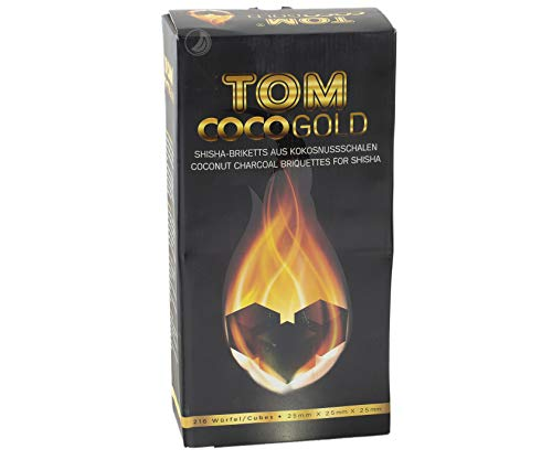 Tom CocoGold Shisha Kohle, Kohlenstoff 3kg, ca. 25 x 25 mm, Schwarz, 216 Würfel