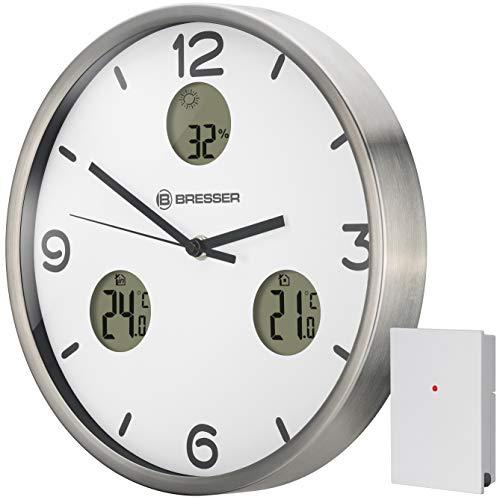 Bresser MyTime io NX Funk-Wanduhr mit Thermometer und Hygrometer - 30 cm Durchmesser