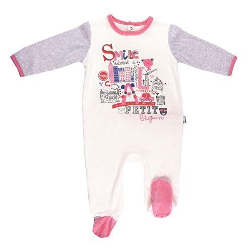 Petit Béguin - Pyjama bébé velours ivoire Smile girl - Taille - 12 mois