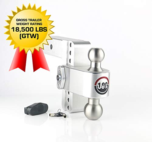 Weigh Safe 180 HITCH LTB6-2.5 6' Drop Hitch, 2.5' Receiver 18,500 LBS GTW - Adjustable Aluminum Trailer Hitch Ball Mount & Stainless Steel Combo Ball, Dual Pin Keyed Lock