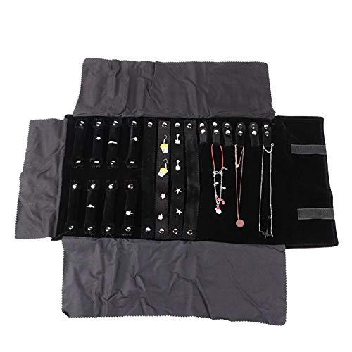 Material de franela de calidad Bolsa de almacenamiento de joyería negra multifuncional de franela, para guardar anillos, pendientes, collar