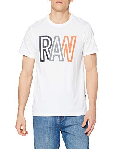 G-STAR RAW Raw Camiseta, Blanco 336-110, XS para Hombre