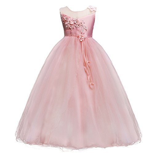 Kids Girls Princess 5-16T Christmas Party Tulle Lace Flower Pageant Dress Floor Length Wedding Bridesmaid Long Holiday Evening Dance Maxi Ball Gown Pink
