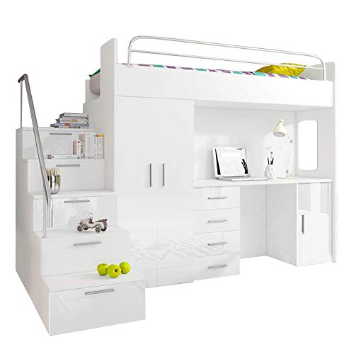 Ye Perfect Choice High Sleeper Modern Set with Wardrobe Desk and Cabin Bed with Mattress Functional Design High Gloss Inserts LUNA 4S