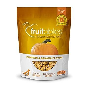 Fruitables Dog Treats | Dog Training Treats | Low Calorie Crunchy Dog Treats | Pumpkin & Banana | 7 Ounces
