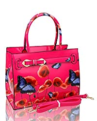 W: 32.5 x H: 25 x D: 15 Patent Poppy & Butterfly Patterned Top-Handle Bag With Ribbon Belt Details featuring dual handles It also comes with a detachable & adjustable strap, Inner layout has zip pocket, mobile phone pocket with zip closure. Made from...