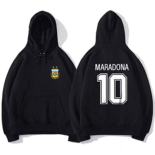 10#Maradona Fußball Trikot T-Shirt Langarm Pullover 2020 Neue Männer Jungen Sport Tops Ārgēntína Legend Hero Fan Geschenk, Atmungsaktive Unterstützer Sweatshirt, S-x Black-M