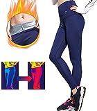 ROOTOK Pantalon Sudation Femme,Pantalon de Yoga,Legging Sauna Minceur,Vetement Sudation Femme,Fitness Gym Pilates Pantalon de Perte de Poids (S)