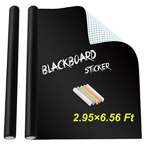 """Holotap Extra Large Chalkboard Sticker 35.4"""" X 78.7"""" Self Adhesive Dry Erase Wallpaper Decal Chalkboard Paper with 5 Chalks for Home Office School (Black, 35.4×78.7 Inch)"""