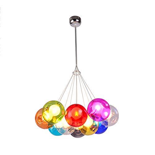 Modern Pendelleuchte Höhenverstellbar Pendellampe Kristall Hängelampe Bunt Glas Hängeleuchte mit für Kinderzimmer Wohnzimmer Kronleuchter, Inklusiv Glühbirne,10Kopf