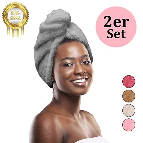 Homefeeling Premium Haarturban (2 Stück) - schnelltrocknend sorgt für traumhaft schönes Haar - Schonend Haare trocknen Dank Quick Dry Hair Towel - 100% Mikrofaserhandtuch