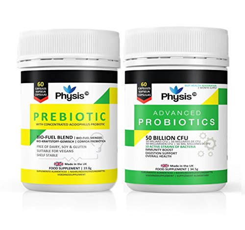 Physis Advanced Probiotics and Prebiotic Bio-Fuel Value Pack (60 Capsules Each) - 2 Month Gut Flora Combo Pack Supply