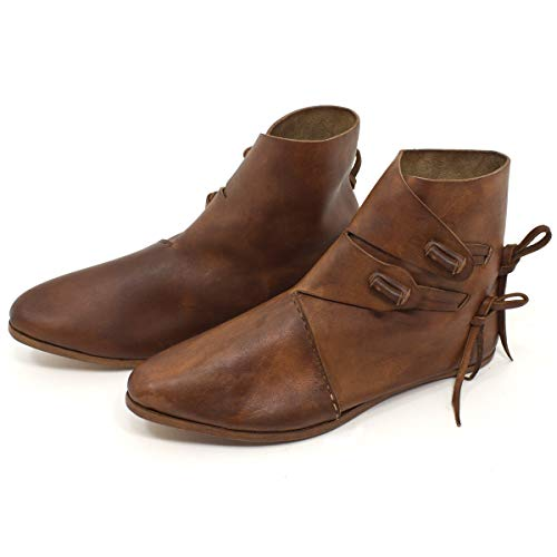 Wikinger Schuhe oder Mittelalter Schuhe für Damen und Herren Dunkelbraun Gr. 47