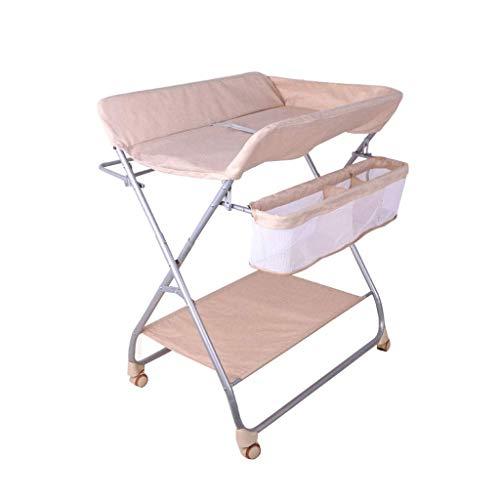 LZQBD Family Care/Folding mit Storage Basket Wickeltisch Baby-Windel wechselt Station mit Rädern Infant Frisierkommode Massage-Station for Neugeborene Kleinkinder Junge Mädchen