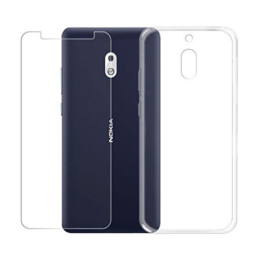 """LJSM Nokia 2.1 Trasparente Cover + Pellicola Protettiva in Vetro Temperato - Morbido Clear Silicone Custodia Protettivo TPU Gel Sottile Case per Nokia 2.1 2018 (5.5"""") -Clear"""