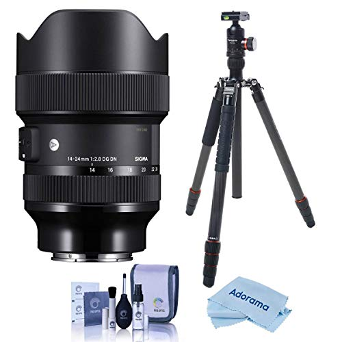 Sigma 14-24mm f/2.8 DG DN Art Lens for Sony E-Mount - Bundle with FotoPro X-Go Max Carbon Fiber Tripod with Built-in Monopod, FPH-62Q Ball Head, Cleaning Kit, Microfiber Cloth