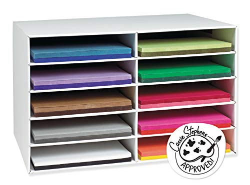 Classroom Keepers 12' x 18' Construction Paper Storage, 10-Slot, White, 16-7/8'H x 26-7/8'W x 18-1/2'D, 1 Piece
