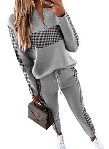 CORAFRITZ Chándal de las mujeres 2 unids conjunto de moda colorblock cremallera escote impresión cuadros manga larga top cordón cintura pantalones conjunto ropa deportiva