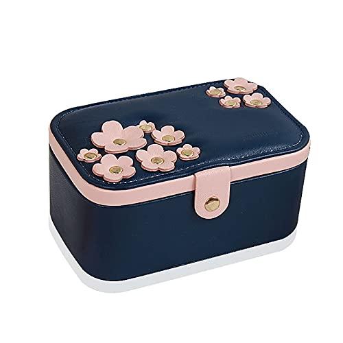 Caja de Joyas organizador de joyas ,Joyero de flor de cerezo de doble capa,caja de almacenamiento de viaje pequeña,collar,aretes,pulsera,caja de almacenamiento de brazalete: un regalo para niñas