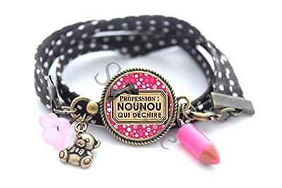 Bracelet idéal Cadeau Profession Nounou qui Déchire ! rose marron