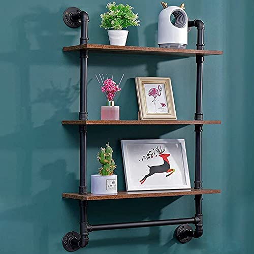 Wood and wrought iron wall shelves