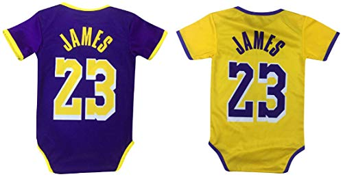 James Basketball Baby Romper Jersey Lebron Infant Toddler Onesies Home/Away Jersey Design Bundle Premium Quality (6-12 mo, Pack of 2)