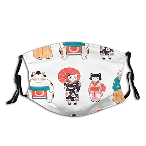Various Cats Dressed in Traditional Japanese Clothes Face Mask with Replaceable Filters Activated Carbon Mask for Party Travel, Daily Use Washable Skin-Friendly Fog Haze Proof Dust Mask Balaclava