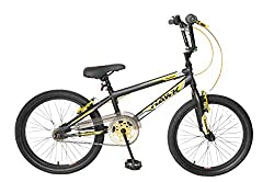"Hi-Tensile steel frame and forks - Front & rear v-brakes Braided brake cable - Single speed - 18T Freewheel 44T Gold Chainring - Handlebars: 640mm - Padded saddle 4-Bolt handlebar stem - Flanged handlebar grips - Enclosed chainguard Tyres: 20"" x 2.0""..."