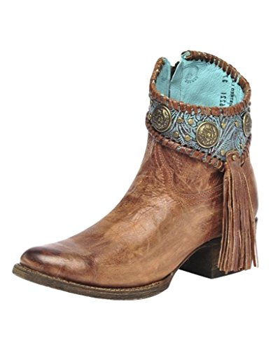 Corral Ld Cognac / Turquoise Conchos Ankle Boot ,Size 8