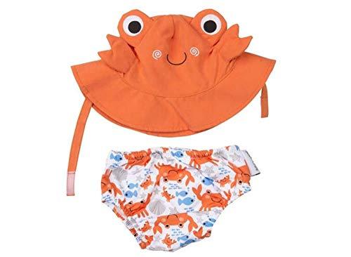 Zoocchini Baby Set mit Badewindel und Sonnenhut Motiv Krabbe 6 – 12 Monate