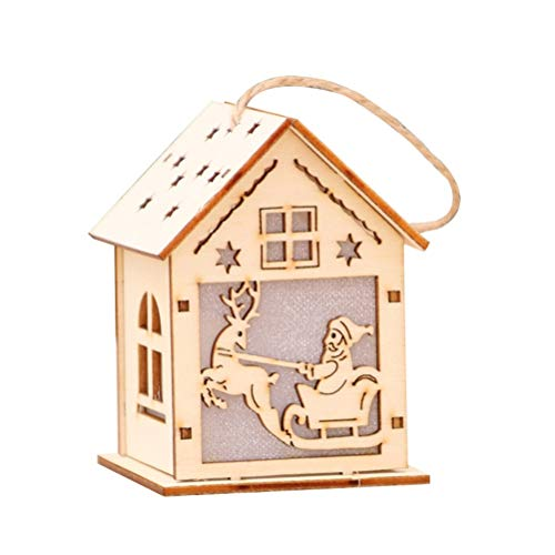 VOSAREA Casette In Legno Con Luminoso Ornamenti Per Albero Di NataleDecorazione Natalizia Piccolo