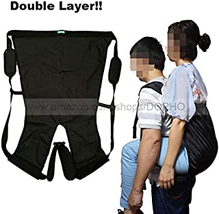 Double Layer Patient Lift Sling Carrier One-Person Transferring Belt for Carrying Up and Down Stairs to Bed,Wheelchair,Chair,Car,Vehicle for Elderly,Handicapped,Disabled,Bedridden (Black, Small)