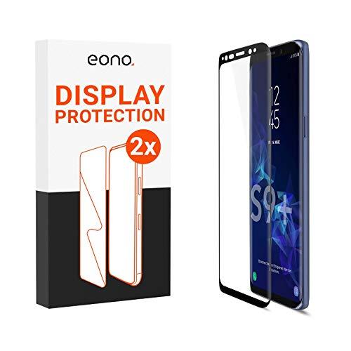 Amazon Brand – Eono 3D Panzerglas kompatibel mit Galaxy S9 Plus - Schutzglas mit 100% Display-Abdeckung gegen Displaybruch - 9H, Full Cover - 2 Stück