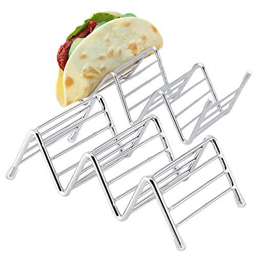 Kalevel 2個セット タコス スタンド ステンレス ホルダー キッチン 用品 天ぷらなど揚げ物 スタンド ホットドッグホルダー 食品ラック 耐熱 2〜3枚ハードまたはソフトなタコス置け