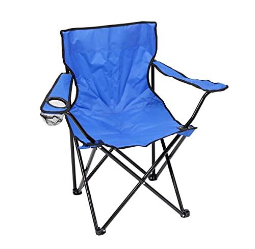 Silla Plegable Azul DE Camping Ligera - Silla Exterior Ideal para IR de Acampada, de Picnic o de Pesca con portavasos …