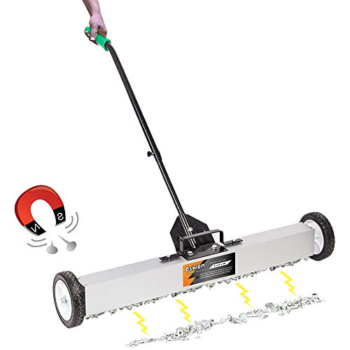 """SSLine Rolling Magnetic Pickup Sweeper with Wheels 36"""" Wide Magnetic Broom Heavy Duty Industrial Magnet Pick Up Tools w/Quick Release Latch & Adjustable Handle for Screws Narils Needles Collection"""