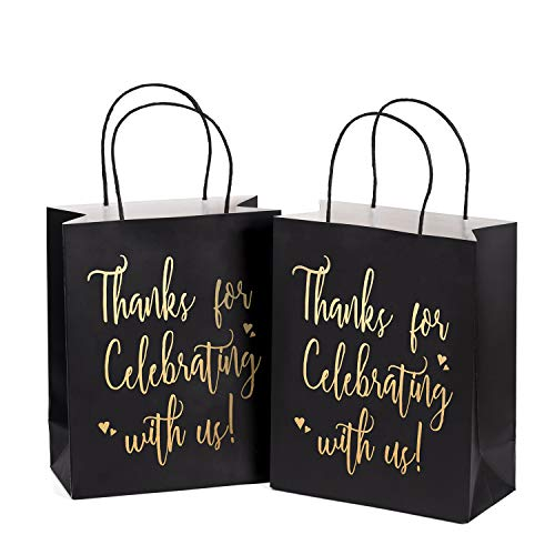 LaRibbons Medium Size Gift Bags - Gold FoilThanks for Celebrating with us Black Paper Bags with Handles for Wedding, Birthday, Baby Shower, Party Favors - 25 Pack - 8 x 4 x 10