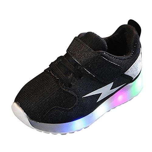 Doublehero Baby Mädchen und Jungen Kleinkind Mode Stern leuchtendes Kind Bunte helle Schuhe Kinder Schuhe mit Licht Led Leuchtende Blinkende Turnschuhe für Kinder (24, Schwarz)