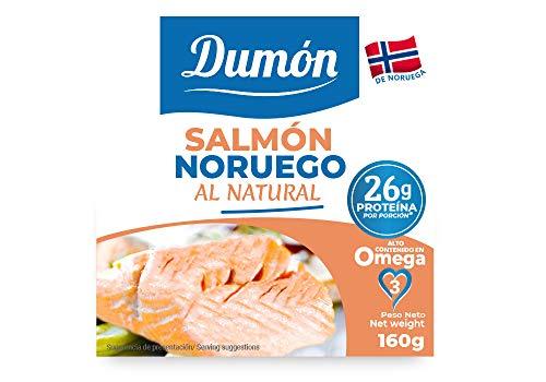 DUMON - Nieuw - 18 eenheden van 160 gram ingeblikte Noorse zalm in eigen sap, zonder botten en zonder vel. 26 gram eiwit per portie. Ingeblikte vis met Omega 3, glutenvrij.