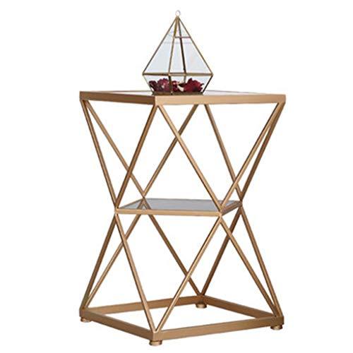 Tables basses Fer Forgé Deux Couches Côté Doré Salon Côté Balcon Côté Canapé Table De Chevet Rangement Cadeau (Color : Gold, Size : 40 * 60cm)