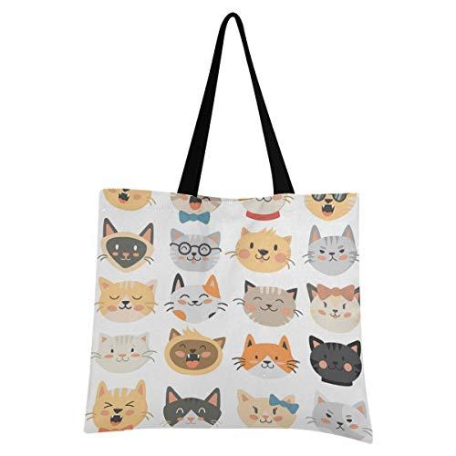 XIXIXIKO - Bolsa ligera de lona para la playa con diseño de gato y gato, resistente para mujeres, niñas, compras, gimnasio, playa, viajes diarios